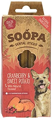 Soopa Cranberry and Sweet Potato Dental Sticks Dog Treat, 100 g