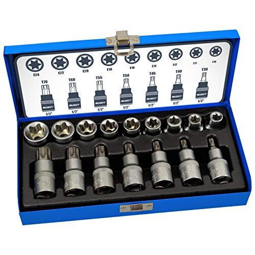 Haskyy Professional 16tlg. Schrauber Bit Set Torx I Nusssatz Bit Stecknüsse I T30-T70 55mm lang I E10-E20 39mm lang