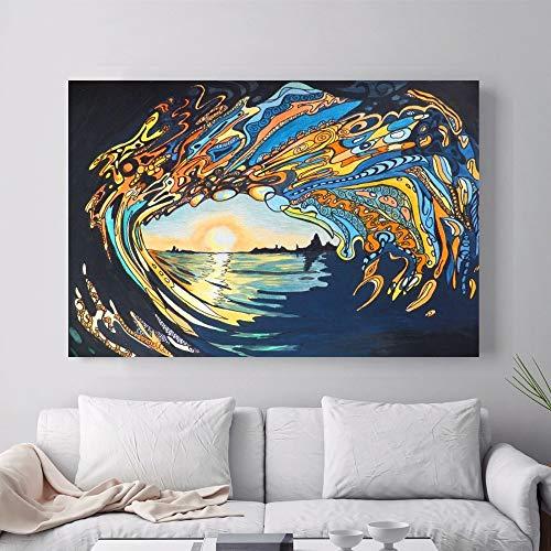 ganlanshu Abstraktes hawaiianisches Wellen-Surfplakat und Druckwandbild auf Leinwand für Hauptdekoration,Rahmenlose Malerei-50X75cm