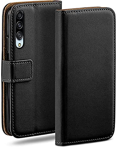 moex Klapphülle kompatibel mit Samsung Galaxy A90 5G Hülle klappbar, Handyhülle mit Kartenfach, 360 Grad Flip Hülle, Vegan Leder Handytasche, Schwarz