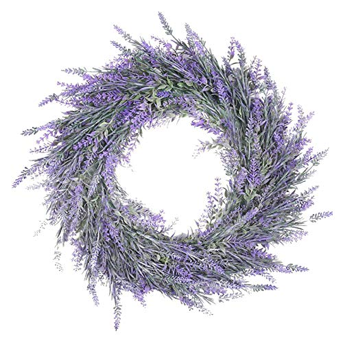 FLAMEER 18' Lavender Wreath for Front Door Artificial Lavender Wreath for All Seasons Indoor Outdoor Floral Wreath for Wedding Party Home Wall Decor