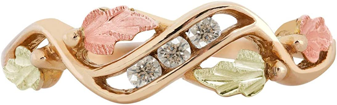 10k Yellow Gold 3-Stone Diamond Ring, 12k Rose and Green Black Hills Gold (.10 Ctw, Top Light Brown)