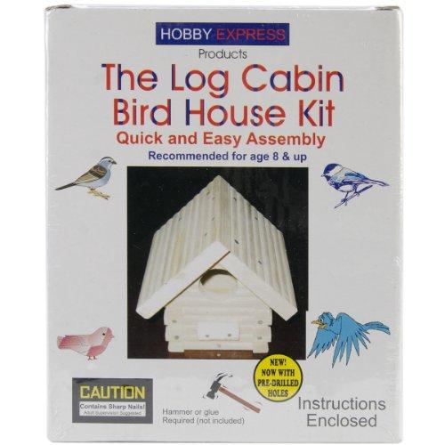 Pinepro Unfinished Wood Kit, Log Cabin Bird House