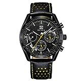 Relojes De Pulsera,Orologio Al Quarzo Da Uomo con Cinturino In Pelle Cava Multifunzionale A 3 Occhi 6 Pin, Cintura