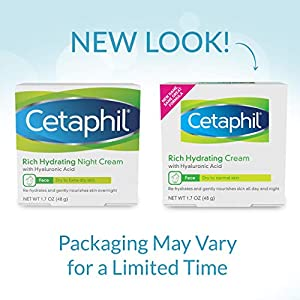 CETAPHIL Rich Hydrating Cream for Face | With Hyaluronic Acid | 1.7 oz | Moisturizing Cream for Dry to Normal Skin| Immediate and Lasting Hydration | Fragrance Free| Dermatologist Recommended Brand