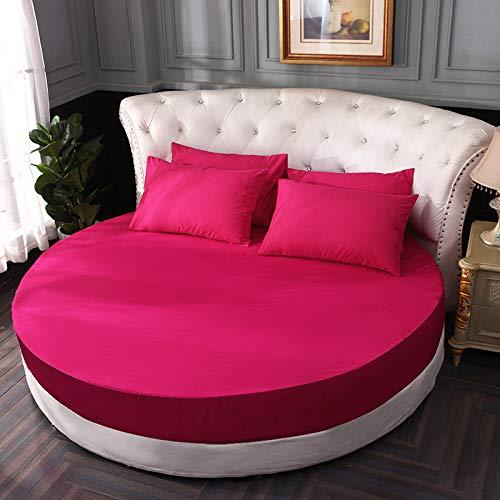 Ankepwj Sábana Redonda de algodón de Color Puro, Juego de Cuatro Piezas Redondas de una Pieza, sábana de algodón Puro, Colcha, Protector de colchón para Hotel