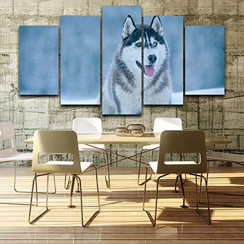 GHTAWXJ Living Room Wall Art Pictures HD Impreso 5 Panel Animal Snow Wolf Pintura Moderna sobre Lienzo Decoración para el hogar Carteles