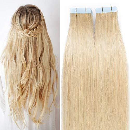 SEGO Tape Extensions Echthaar 20 Stück Klebeband Verlängerung Haarteile 100% Remy Human Haar Kleber Hellblond#613 20