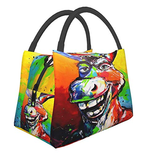 EFFK Funny Esel Donkey Painting Lunch Box,Leakproof Insulated Lunch Bags,Reusable Tote Lunch Boxes for Work Picnic Container