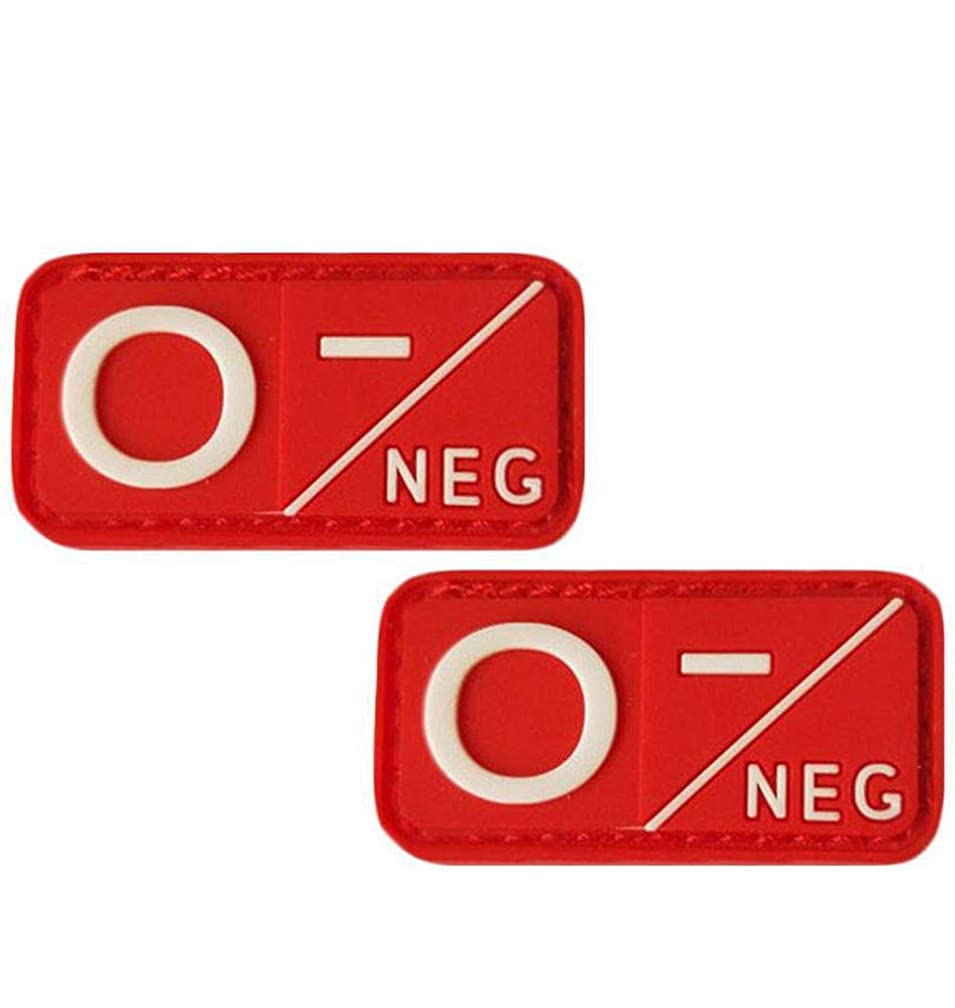 QTao UPA185aa 2pcs PVC Blood Type Group Identification Tags Durable Rubber Tactical Morale Patches (Type O Negative)