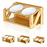 amorus Raised Pet Bowls for Cats and Dogs, Adjustable Bamboo Elevated Dog Cat Food and Water Bowls Stand Feeder (with 2 Melamine Bowls & Stable Z-Shape Stand)