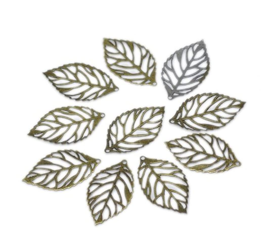 PEPPERLONELY Brand 200PC Antique Bronze Hollow Charm Pendants Leaf 24x13mm