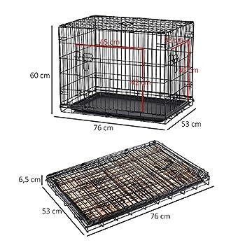 Pawhut Cage de Transport Pliante pour Chien poignée, Plateau Amovible, Coussin fourni 76 x 53 x 57 cm Noir
