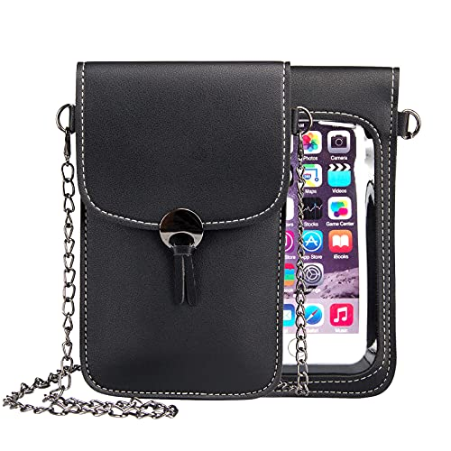 Cellphone Purse Crossbody Bag, Techcircle Phone Pouch 2-Layer Pockets [ View Window Touch Screen ], Small Handbag for iPhone X/Xs/Xr/8 7 6 Plus, Galaxy S7 Edge/Note 7, Moto Z2 Force/Play, Black