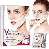 V lifting Masque, MEOWMEE V Line Masque Double Masque Liftant Réducteur Intense, Masque Anti-Rides Menton pour raffermissant Hydratant Visage Et Cou Lift 5 pack