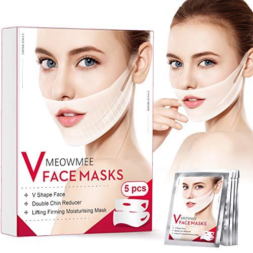 V Gesichtsmasken, MEOWMEE V Line Gesichtsmaske Doppelkinn-Reduzierer Intensiv Lifting-Maske, Anti-Falten Kinn Maske zur Straffung feuchtigkeitsspendender Gesichts und Halslifting 5er Packung