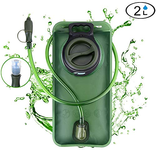 WADEO Hydration Bladder 2 Liter Leak Proof Water Reservoir, BPA Free Hydration Pack Replacement, Military Class Quality, Wide-Opening,Shutoff Valve Best for Hiking Cycling Climbing Hydro Backpack
