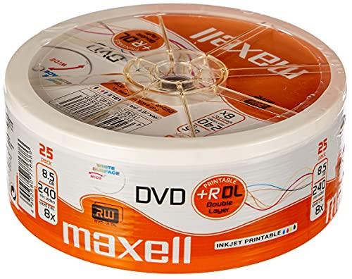 Maxell 276078 - DVD+R 8,5 GB DL Double Layer, 8 x velocità, 8,5 Gb, 25 Shrink, stampabile