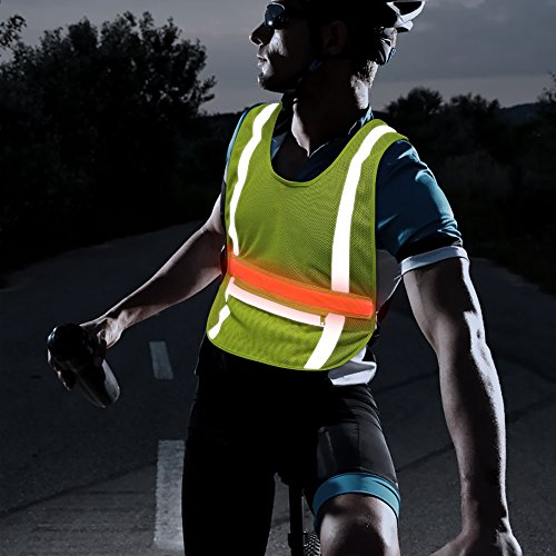 Illumifun LED Running Safety Reflective Vest - High Visibility Adjustable Glowing LED Vest for Night Cycling Motorcycling Running Jogging Dog Walking (Green Horizontal)