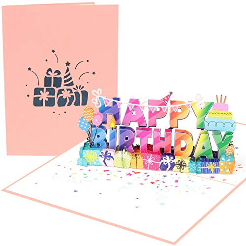 """PopLife """"Happy Birthday!"""" 3D Pop Up Card - Big Happy Birthday Sign, B-day Message, Surprise Birthday Card - for Husband, for Wife, for Boyfriend, for Son, for Girlfriend, for In-laws, for Friend, for Teacher"""