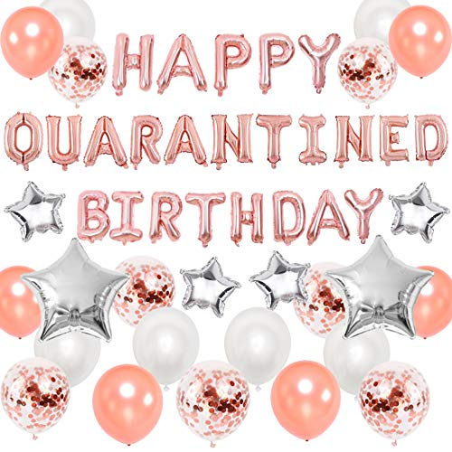 Quarantine Birthday Decorations Lockdown Social Distancing Party Supplies Rose Gold Happy Quarantined Birthday Banner