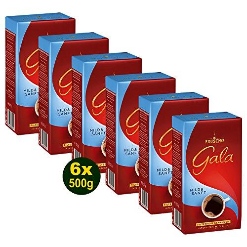 EDUSCHO GALA Mild & Sanft Röstkaffee Fein Gemahlen 6x 500g (3000g) - Kaffee mit mildem Aroma