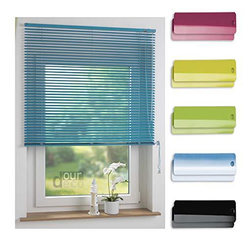 ourdeco® Aluminium-Jalousie / 100 x 160 Türkis (Breite x Höhe) / Montage an Wand oder Decke, Premium Alu-Jalousie