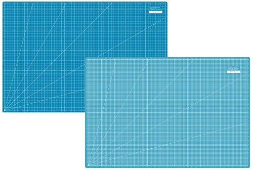 SEMPLIX Selbstheilende Schneidematte A0 in Grün, Rosa, Grau, Türkis, Lila. Ideal fürs Basteln, Nähen und Patchworken. 120x80 Beidseitig Bedruckt. Vorderseite cm, Rückseite inch Bemaßung