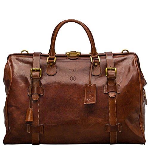 Maxwell Scott Personalised Italian Leather Large Luggage Bag - GassanoL Tan