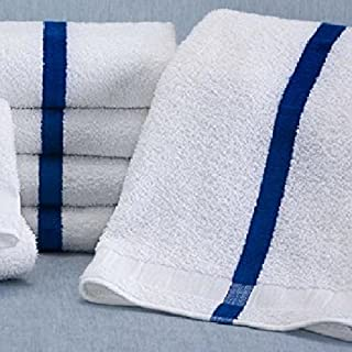 6 NEW WHITE / BLUE CENTER STRIPE BATH POOL TOWELS HOTEL MOTEL 22X44 ABSORBENT By OMNI LINENS