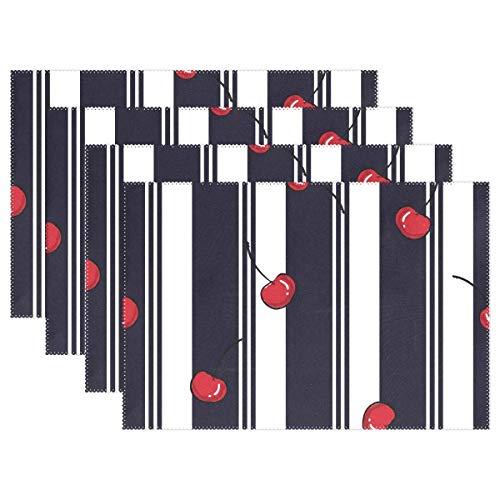 Ensemble de 6 napperons cerise noir blanc rayé Tapis de table résistant à la chaleur Lavable Tapis antidérapant résistant aux taches pour la décoration de la cuisine,12 x 18 po