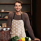 WELLXUNK Schürze,Küchenschürze Damen Schürze Kochschürze,Schürze mit Tasche für Frauen Kochen Arbeit Hausarbeit,zum Kochen oder Backen (grau) - 6