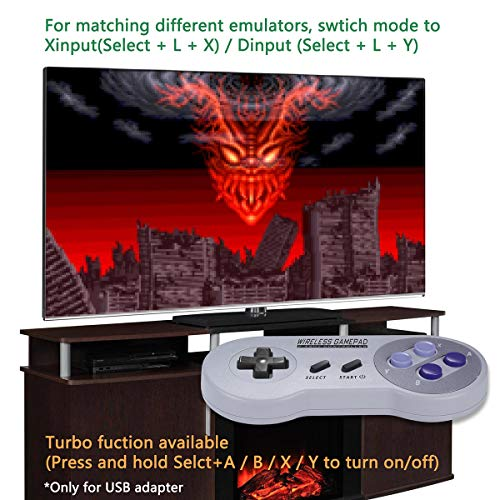 Urvoix 2.4G Wireless Rechargeable Joystick Controller Gamapad with Receiver for Nintendo SNES Classic Edition / NES Classic Edition Console, with USB Adapter for PC