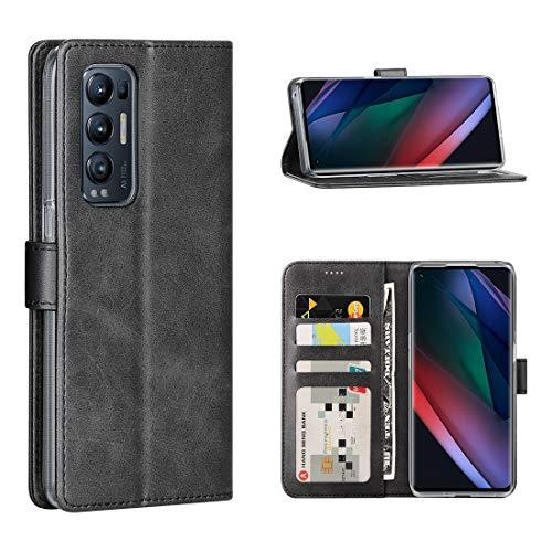 Cresee Kompatibel mit Oppo Find X3 Neo 5G Hülle, PU Leder Handyhülle mit 3 Kartenfächer, Schutzhülle Hülle Tasche Magnetverschluss Flip Cover Stoßfest für Find X3 Neo (Schwarz)
