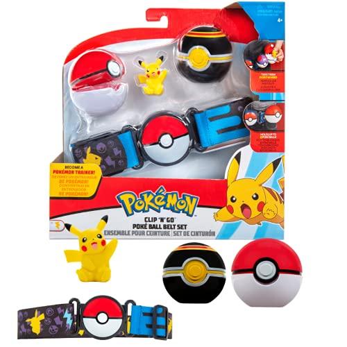 Pokemon Clip N Go Cintura Set Pikachu & Pokeball – Include 1 Personaggi da 5 cm, 1 Cintura e 2 Palline da Poker – Licenza Ufficiale Pokemon Giochi