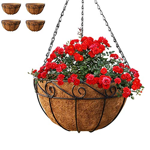 Gray Bunny Metal Hanging Planter Basket with Coco Liner, 4 Pack, 14 in Diameter, Hanging Flower Pot, Round Wire Plant Holder, Watering Basket, Chain Porch Decor, for Lawn, Patio, Garden, Deck