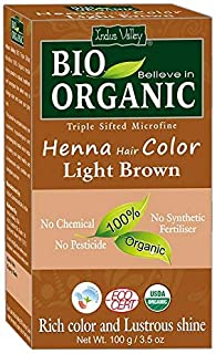 Indus Valley BIO Organic Chemical Free Natural Light Brown Henna Hair Color For Grey Hairs