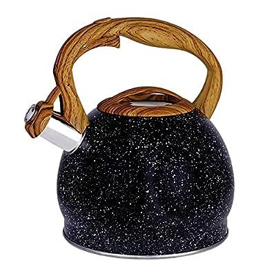 2.5 Quart Whistling Tea Kettle Tea Pot for Stove Top, Food Grade Stainless Steel Metal Water Kettle Stovetop Teapot, Teakettle Teteras Para Hervir Agua Pot Induction Black