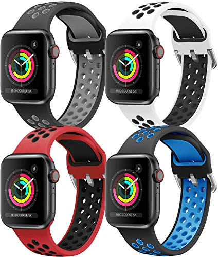 HLTEK Correa Compatible para Apple Watch 44mm 42mm 40mm 38mm, Suave Silicona Reemplazo Pulseras para iWatch Series 6/5/4/3/2/1/se