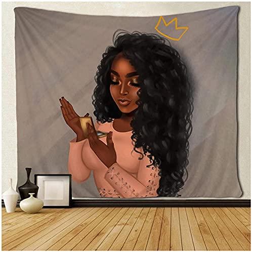 KBIASD Tapiz de Arte Negro Tapiz de Pared Hermosa Mujer Afro Africana Americana con Reina Maquillaje Colgante de Pared 150x130cm