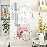 12 adesivi da parete rimovibili in acrilico a specchio per casa, soggiorno, camera da letto (esagonale)