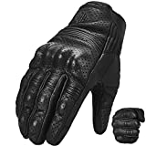 Auboa Goatskin Leather Motorcycle Gloves for Men and Women, Motorbike Powersports Racing Gloves Touchscreen(M, Black Perforated)