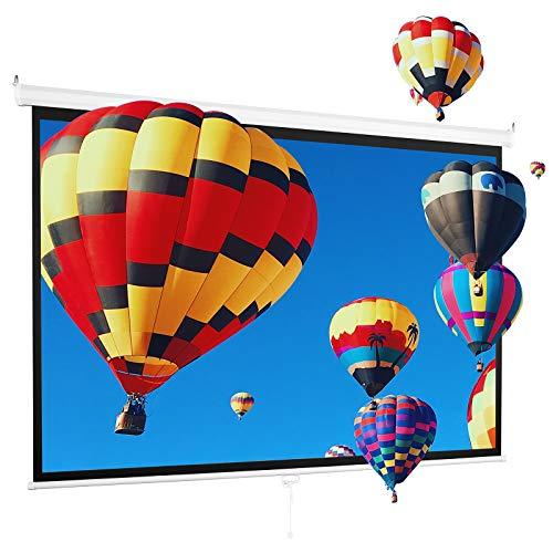 プロジェクタースクリーン 100インチワイド 16:9 高解像度 4K フルハイビジョン 吊り下げ 壁掛け ロール式 手動