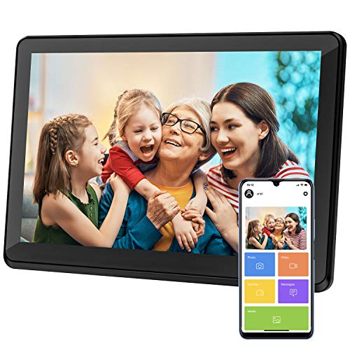 Atatat Digital Picture Frame WiFi 10 inch with 1920x1080 IPS Touch Screen, Share Photos & Videos Instantly via APP Email, Auto-Rotate, Wall-Mountable, Portrait and Landscape