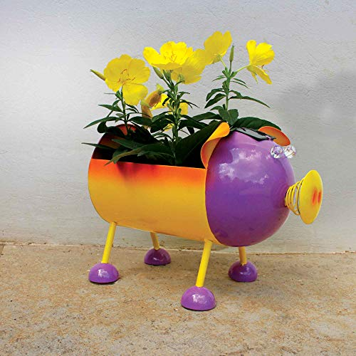Smarty Gadgets - Piggy Planter Yard Décor, Outdoor Art Decoration with Solar LED Eyes, Colorful Deco Bowl for Fruits, Flowers or Succulents in Your Garden, Balcony, Terrace or Patio 12x7x8 Inch