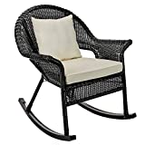 BrylaneHome Roma All-Weather Rocking Chair w/Free toss Pillow & seat Cushion