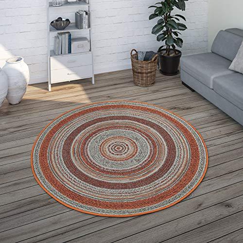 Paco Home Tapis Rond Intérieur Extérieur, pour Balcon Terrasse avec Design Ethnique, Marron, Dimension:Ø 120 cm Rond