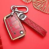 HIBEYO Funda para llave de coche inteligente compatible con VW Golf 7, funda de llave de TPU, para VW Polo Golf 7, MK7, Skoda Octavia Seat, caja de llaves con 3 botones rojo