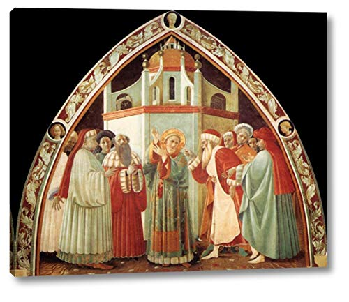 "Disputation of St Stephen by Paolo Uccello - 10"" x 12"" Gallery Wrap Canvas Art Print - Ready to Hang"