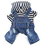 DOGGYZSTYLE Pet Dog Cat Hoodies Clothes Black Striped Denim Outfits Blue Jeans Jumpsuits One-Piece Jacket Costumes Apparel Hooded Coats for Small Puppy Medium Dogs(Blue,XL)